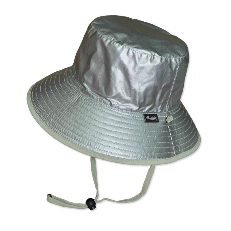 หมวกกันแดด กันยูวี UV Bucket ปีกรอบ มีสายคล้อง สีเงิน/เบจ (ใส่ได้2ด้าน)