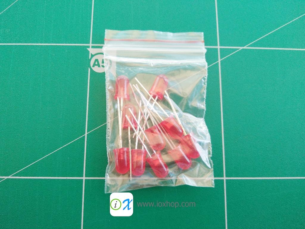 LED 5MM สีแดง 10 ดวง