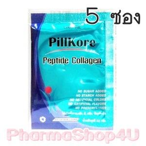 (ชุดทดลอง 5 ซอง) Pillkore Peptide Collagen 30ซอง พิลคอ เปปไทด์ คอลลาเจน จากนิปปิ ประเทศญี่ปุ่น บำรุงผิวให้มีน้ำมีนวล ขาวใส แค่วันละซอง
