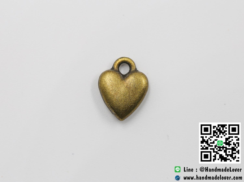 จี้โลหะ,ตัวห้อยซิป สีทองรมดำ รูปหัวใจ ขนาด 14 x 10 mm