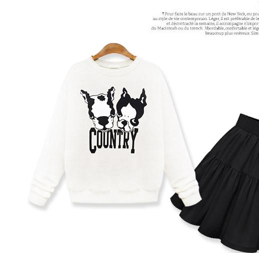 เสื้อแฟชั่น แขนยาว บุกันหนาว คอกลม บลูด๊อก Country สีขาว