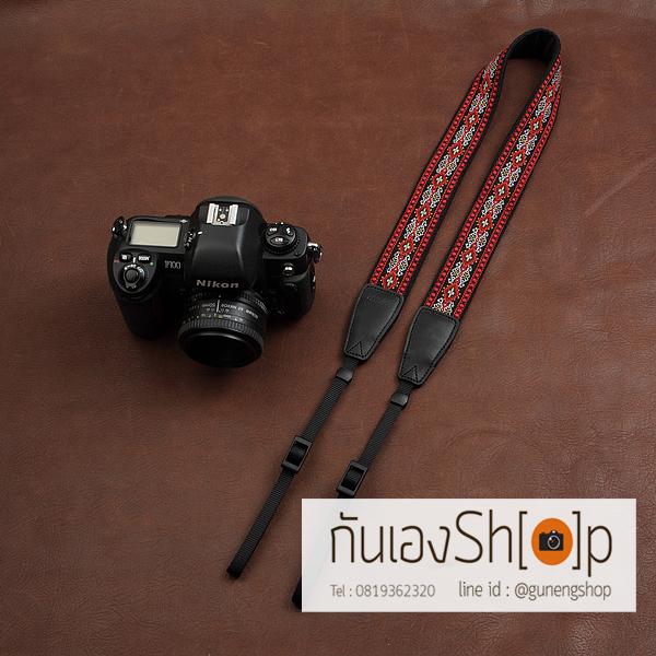 สายกล้องคล้องคอลายไทย cam-in Daimond Chain-Red