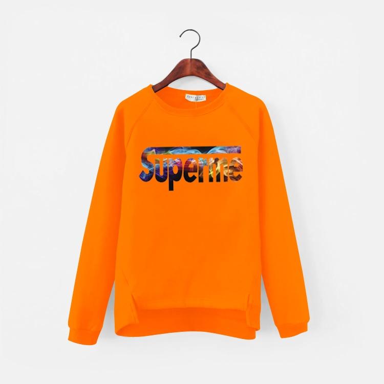 เสื้อแฟชั่น คอกลม แขนยาว บุกันหนาว ลาย superme สีส้ม