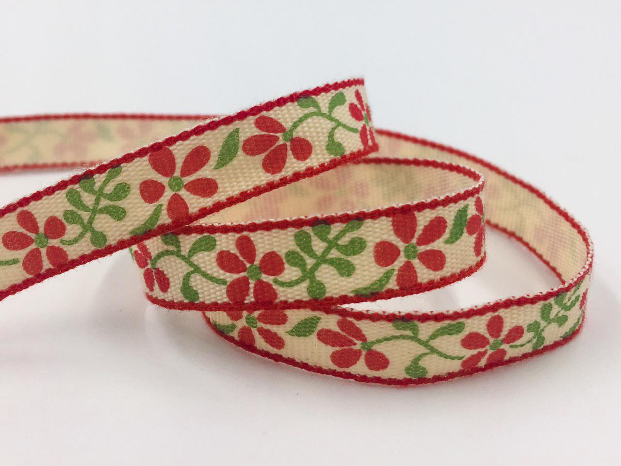 ริบบิ้นผ้า สีแดง ลายดอกไม้ 10 mm.