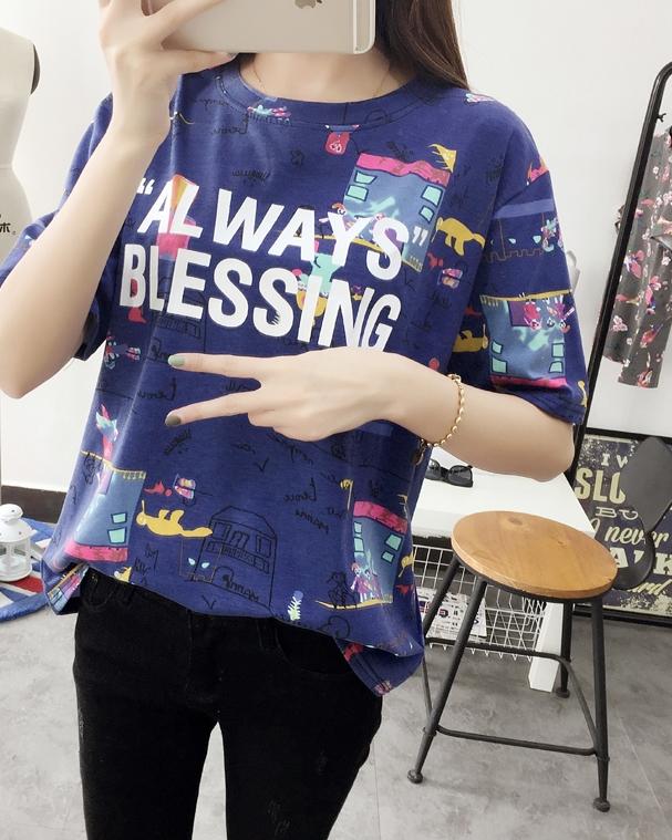 เสื้อแฟชั่น คอกลม แขนสั้น ลายการ์ตูน AL WAYS BLESSING สีน้ำเงิน