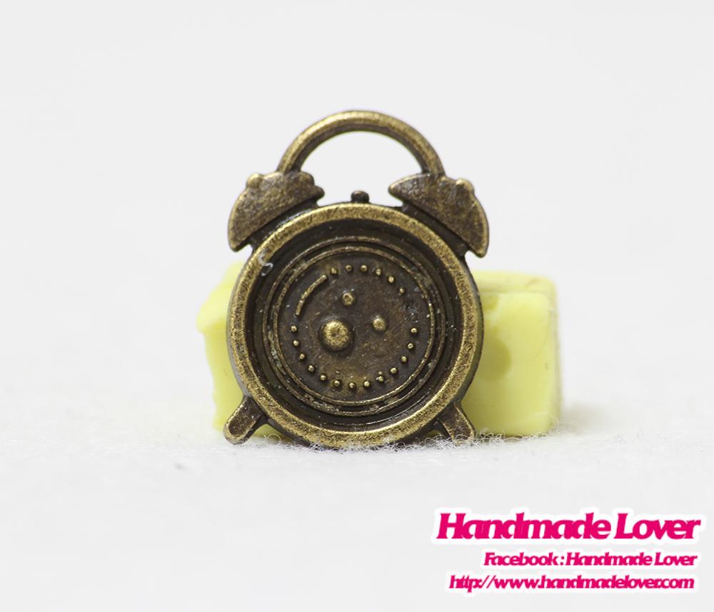 จี้โลหะ,ตัวห้อยซิป นาฬิกาปลุก สีทองรมดำ