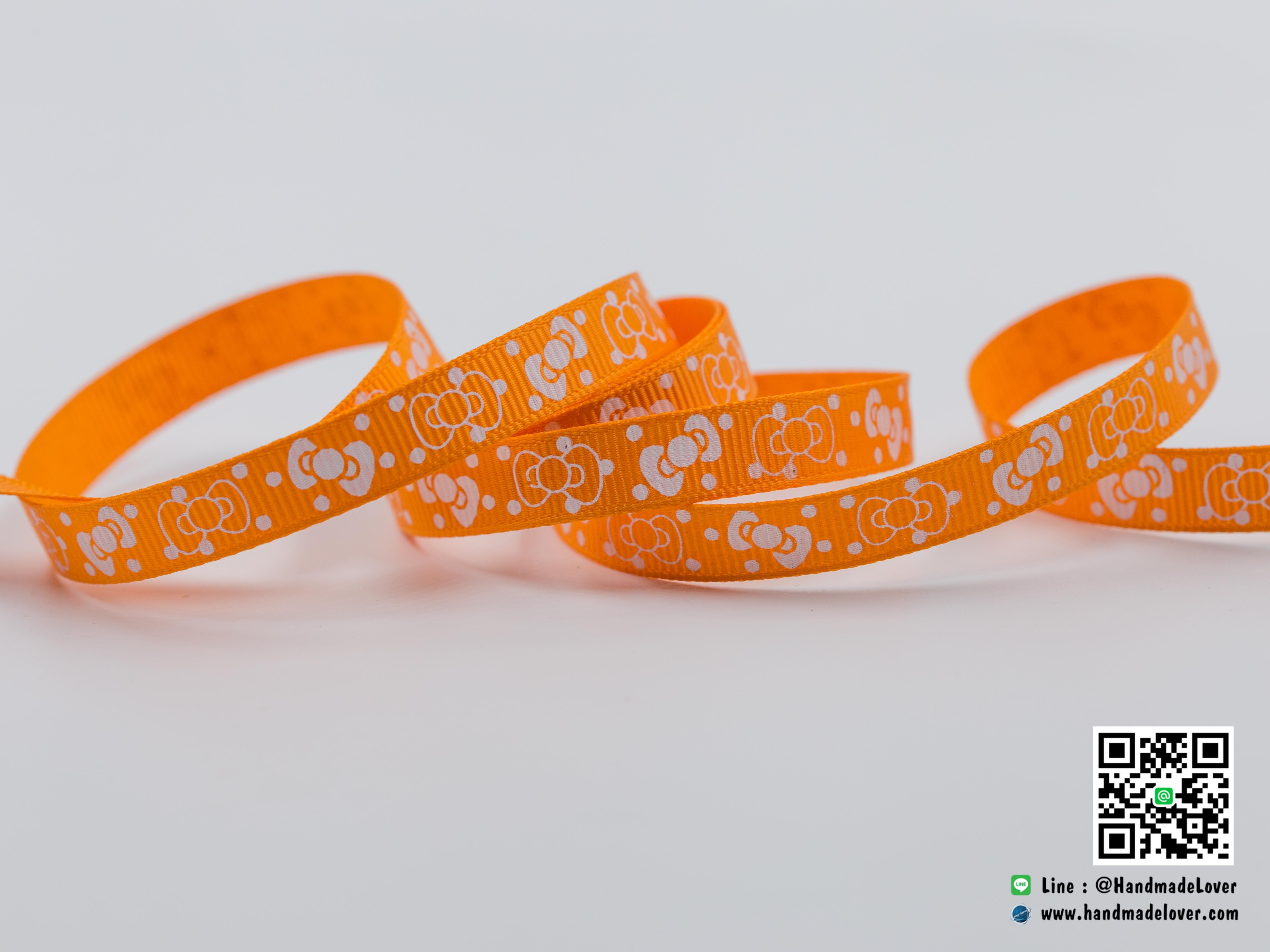 ริบบิ้นผ้า กรอสเกรน สีส้ม พิมพ์ลายโบว์ ขนาด 9 มิล