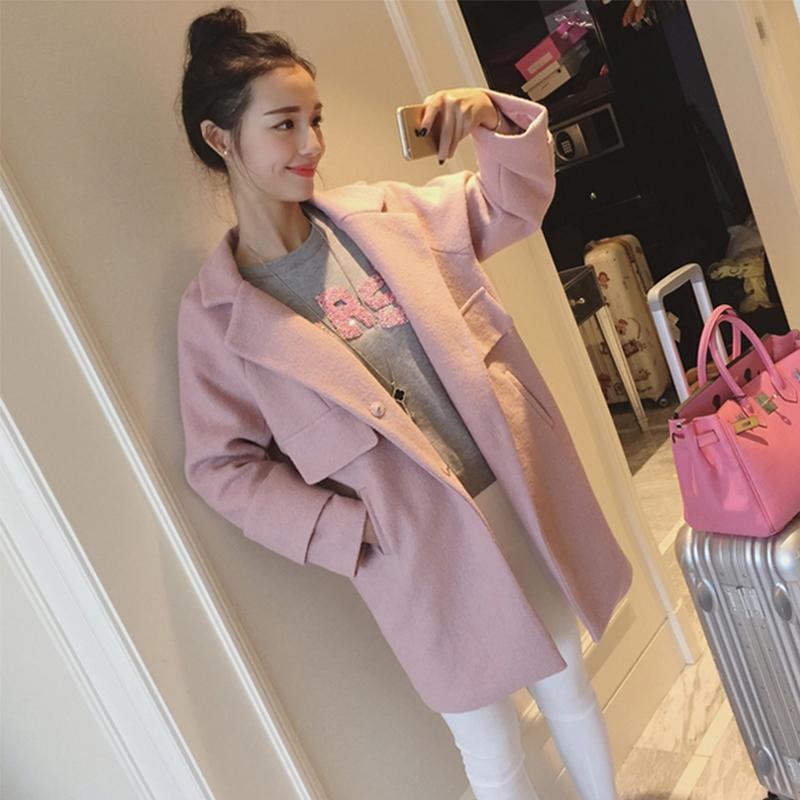 (ภาพจริง) เสื้อโค้ทยาว แขนยาว ผ้าสำลี สีชมพู