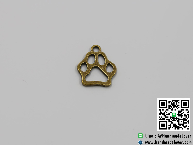 จี้โลหะ,ตัวห้อยซิป สีทองรมดำ รูปอุ้มเท้าหมา ขนาด 17 x 19 MM