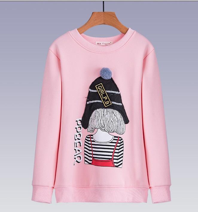 C126-20 เสื้อกันหนาวเด็กสีชมพูสวย ลายการ์ตูนน่ารัก บุขนกำมะหยี่นุ่มๆ รุ่นนี้ไม่หนามาก เหมาาะกับอากาศสบายๆหรือใส่ทับลองจอนก็ยิ่งอุ่น พร้อมส่ง