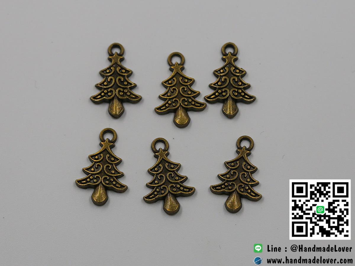 จี้โลหะ,ตัวห้อยซิป ต้นคริสต์มาส สีทองรมดำ