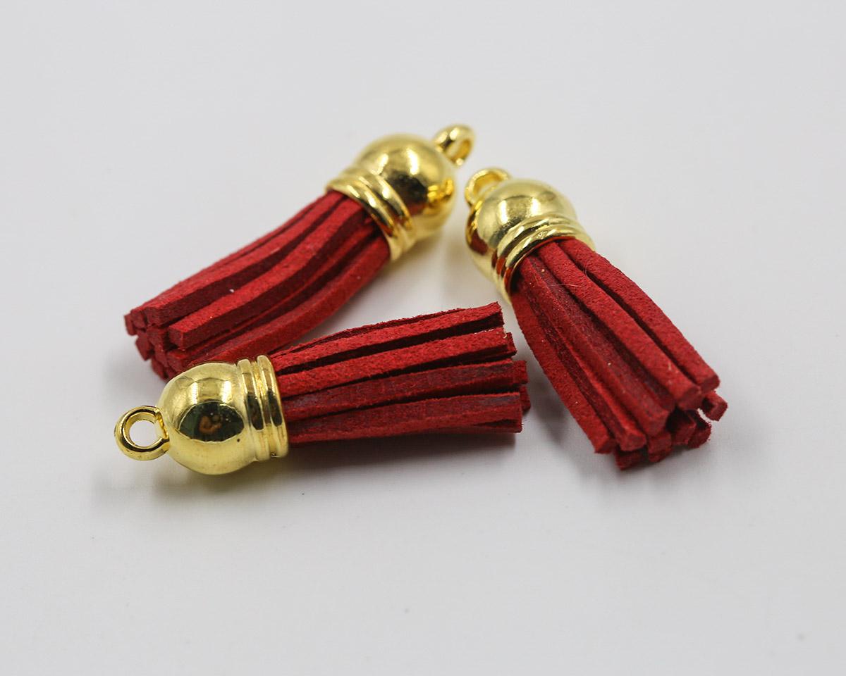 พู่ห้อยกำมะหยี่ สีแดง จุกสีทอง ขนาด 3.5 cm.