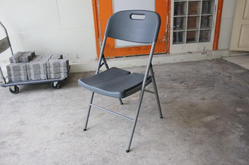 เก้าอี้เดี่ยวพับได้ มีพนักพิง ลายไม้ KOMMET HDPE รุ่น HDC-001M