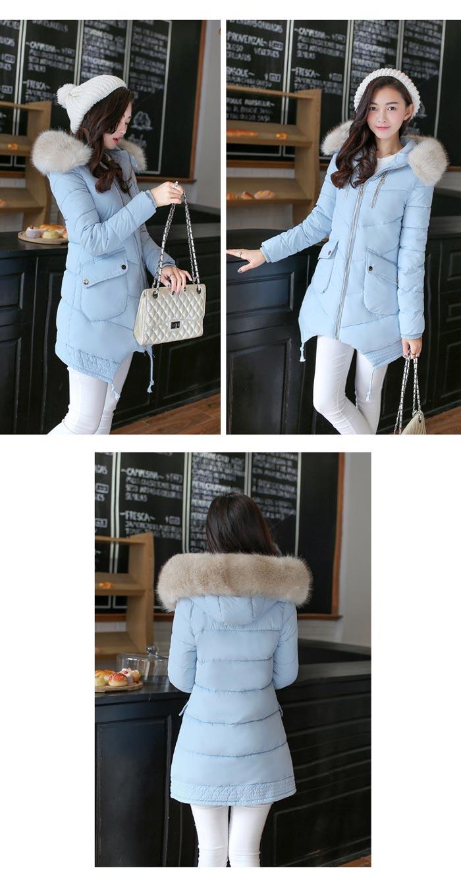 เสื้อกันหนาวผู้หญิงแฟชั่นเกาหลี สีฟ้า แจ็คเก็ตมีเฟอร์รอบฮู้ด ยาวคลุมสะโพก หนาวนี้ เอาอยู่