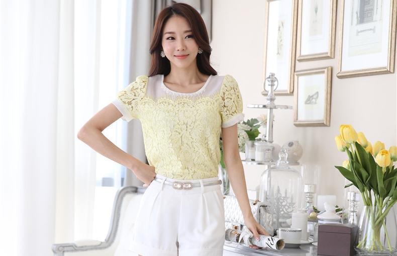 เสื้อทำงานผู้หญิงสีเหลือง ผ้าลูกไม้ สวยหรู ดูดี