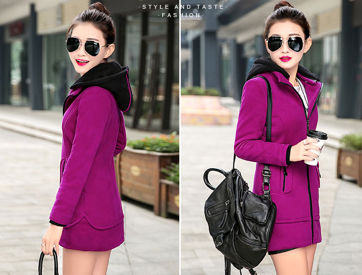 เสื้อกันหนาวผู้หญิงแฟชั่นเกาหลี สีชมพูอมม่วง ตัวยาว ซิบหน้า แต่งตัดด้วยสีดำ มีฮูท จั๊มปลายแขน
