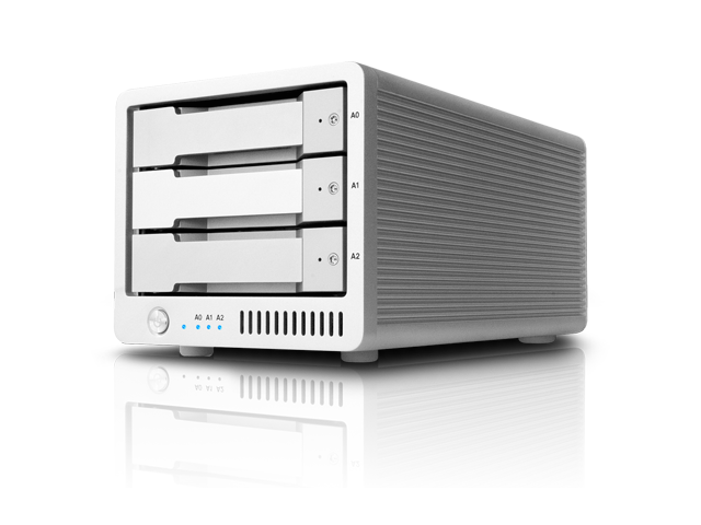 CalDigit T3 RAID Max Capacity: 15TB | Max Speed: 1100MB/s | Drive Module: SSD or HDD Interface: Dual Thunderbolt™ 2 Ports