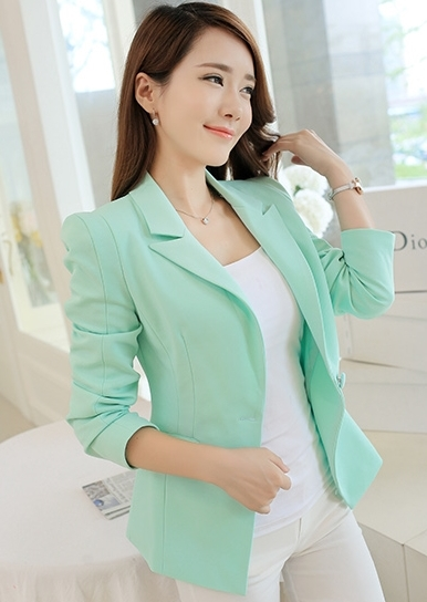 เสื้อสูททำงานผู้หญิงสีเขียว คอปก แขนยาว ทรงสวย