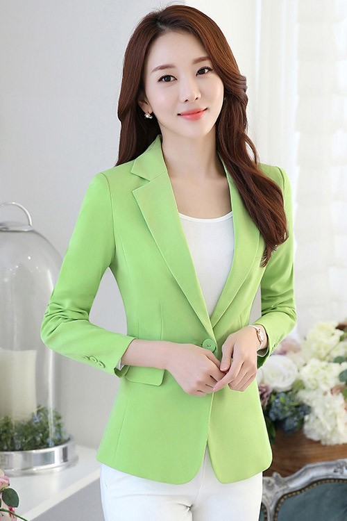 (สินค้าหมด) เสื้อสูทแฟชั่น เสื้อสูทผู้หญิง สีเขียว แขนยาว