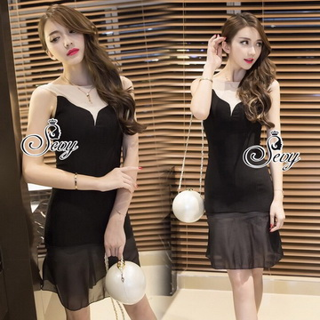 Lady Ribbon Online เสื้อผ้าแฟชั่นออนไลน์ขายส่ง เลดี้ริบบอนของแท้พร้อมส่ง sevy เสื้อผ้า SV05240716 &#x1F389Sevy V Curve Mesh Sleeveless Sexy Dress