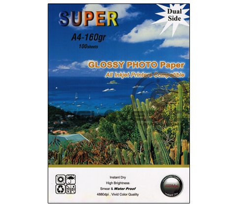 Super Glossy Photo 160 Gsm. Print 2 Side (A4) (A4/100 Sheets)