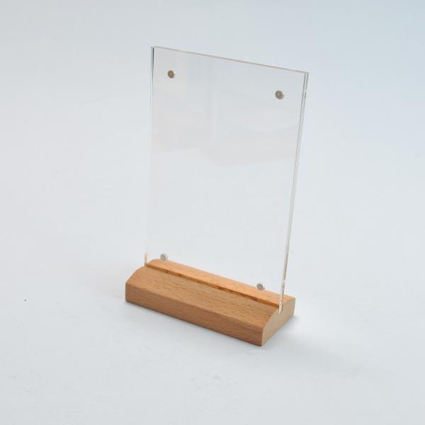 S8001XM ป้ายอะคริลิค T-Shape ฐานไม้ธรรมชาติ หกเหลี่ยม ขนาด 4R (4x6 นิ้ว) แนวตั้ง