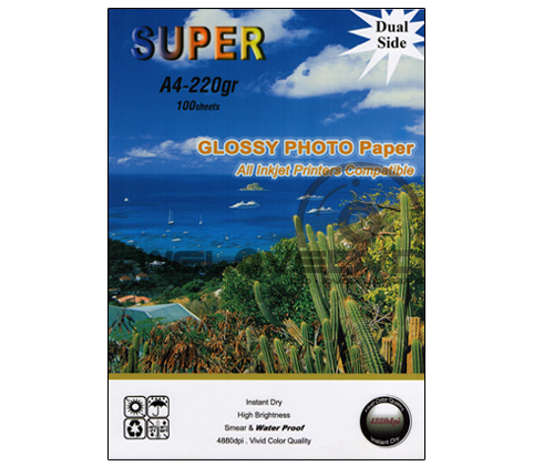 Super Glossy Photo 220 Gsm. Print 2 Side (A4) (A4/100 Sheets)