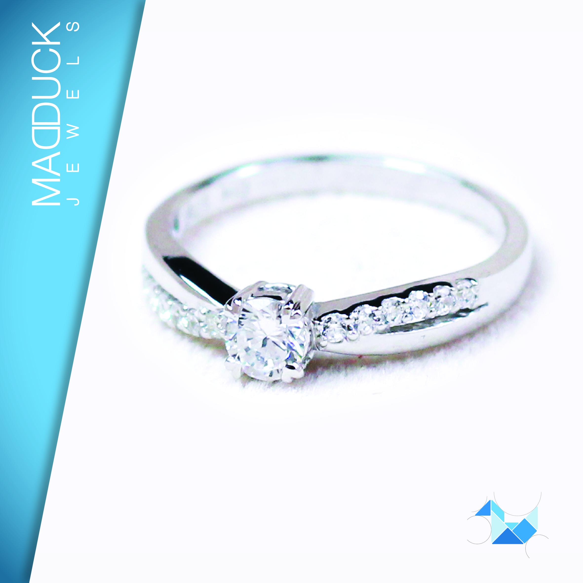 แหวนเงินแท้ เพชรสังเคราะห์ ชุบทองคำขาว รุ่น RG1449 Shine Bride