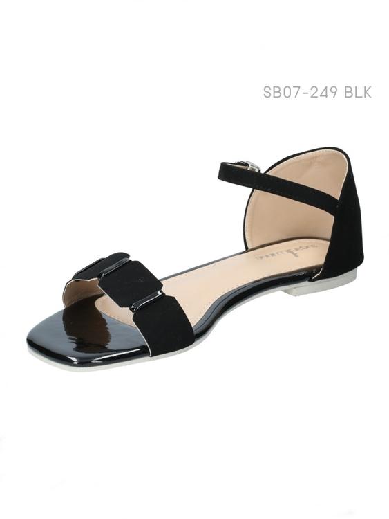 รองเท้าแฟชั่นส้นแบน แบบรัดส้น (สีดำ )