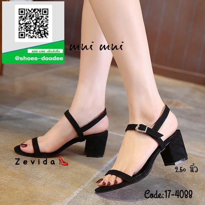 รองเท้าส้นตันรัดส้นสีดำ สไตล์เกาหลี งานนำเข้า (สีดำ )