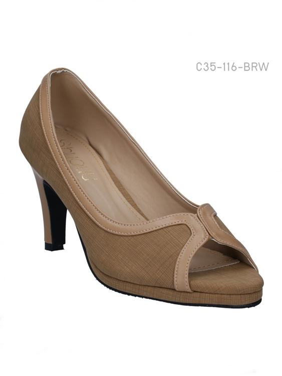 รองเท้าคัทชูส้นสูง เปิดด้านหน้า โชว์นิ้วเท้า (สีน้ำตาล )