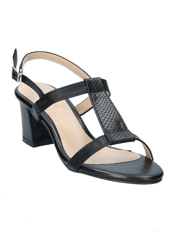 รองเท้าส้นเตี้ยรัดส้น แต่งลายหนังงู (สีดำ )