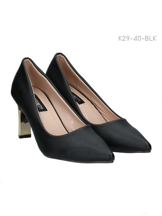 รองเท้าคัทชูส้นสูง หัวแหลม แต่งส้นสีทอง (สีดำ )