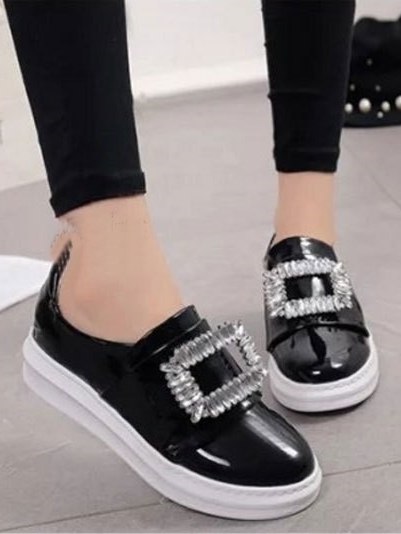 รองเท้าผ้าใบผู้หญิง ทรงมัฟฟิน สไตล์MiuMiu (สีดำ )