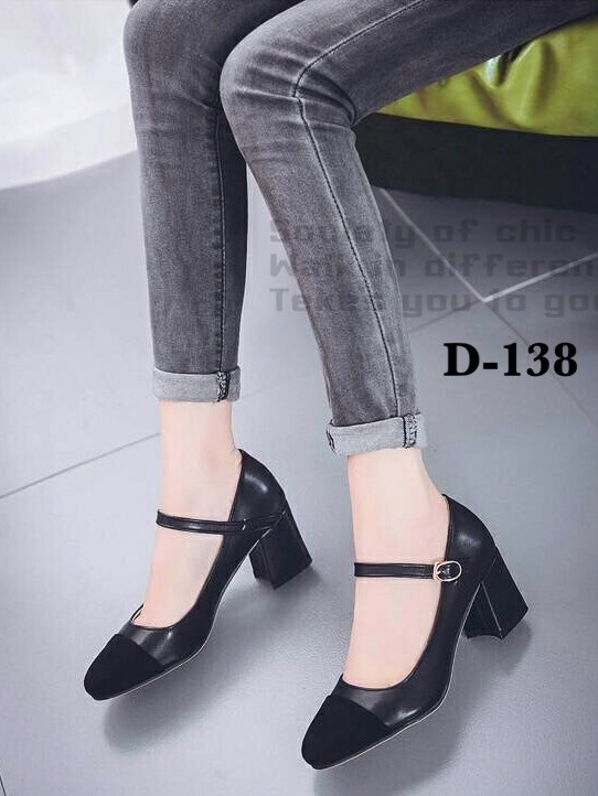 รองเท้าคัทชูหนังนิ่ม ส้นสูง หัวแต่งสักหลาด ใส่ได้หลายโอกาส (สีดำ )