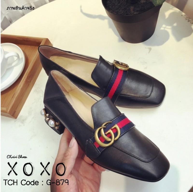 รองเท้าคัทชูส้นมุกสีดำ ใส่เหยียบส้นได้ สไตล์ Gucci (สีดำ )