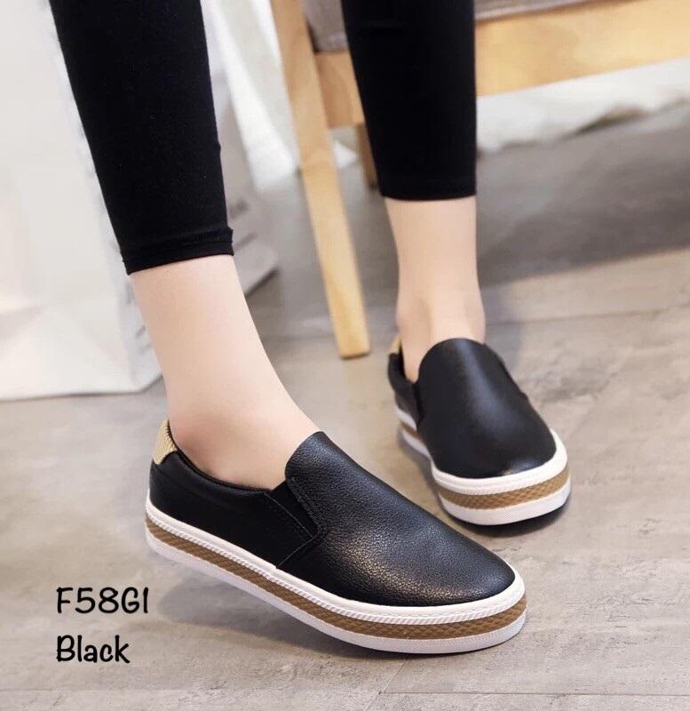 รองเท้าผ้าใบหนังนิ่มสีดำ ดีไซน์ทรงกระชับเท้างานขายดี (สีดำ )