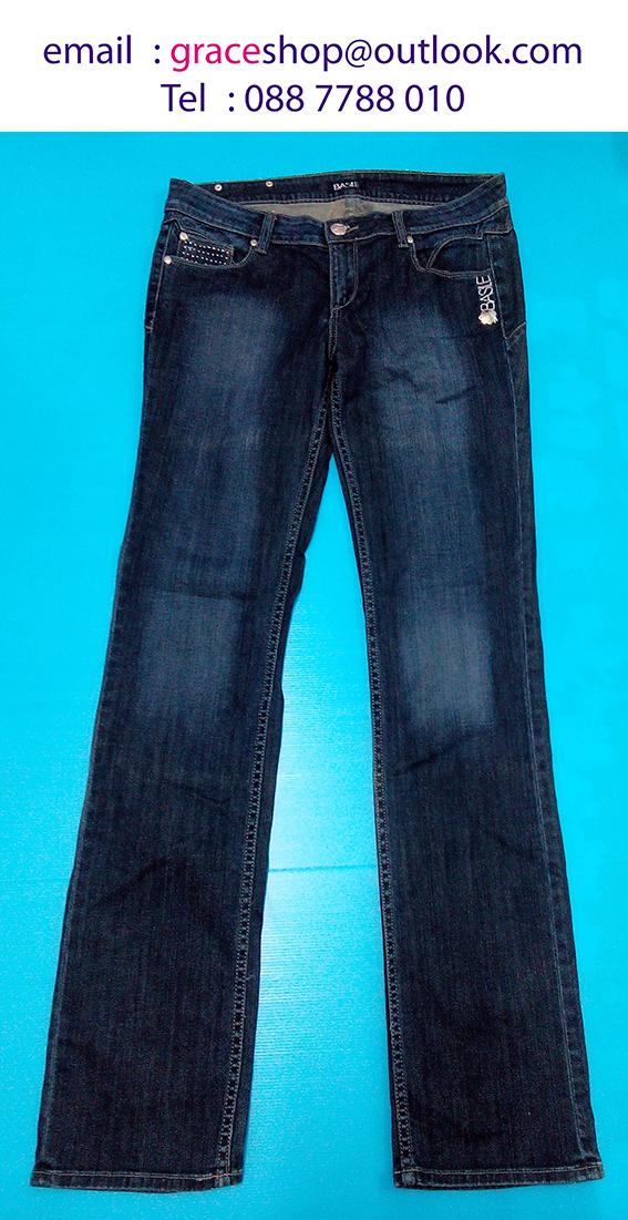 กางเกงยีนขายาว ทรงกระบอก size 48 เอว 34 นิ้ว สะโพก 38 นิ้ว ยาว 44 นิ้ว