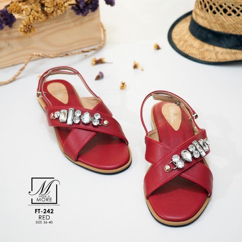 รองเท้าแตะรัดส้นสีแดง สายคาดไขว้ ประดับเพชร (สีแดง )