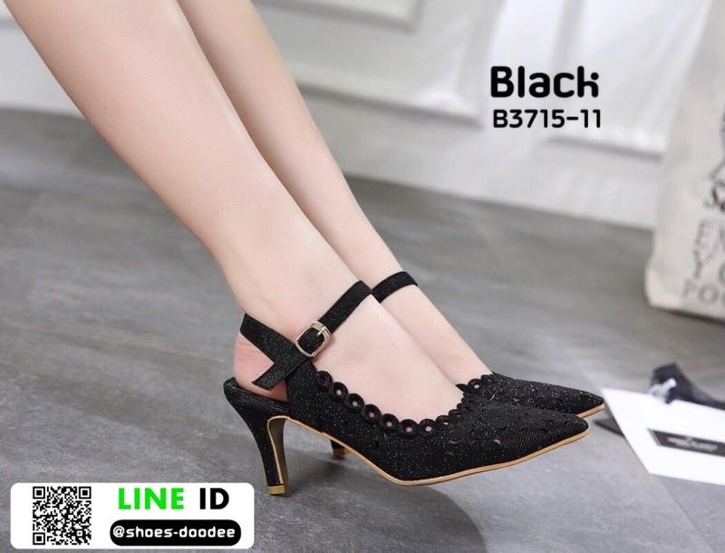 รองเท้าส้นสูงเปิดส้น รัดข้อ B3715-11-BLK [สีดำ]