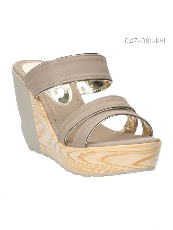 รองเท้าส้นเตารีด ทรงสวม ส้นลายไม้ (สีกากี )