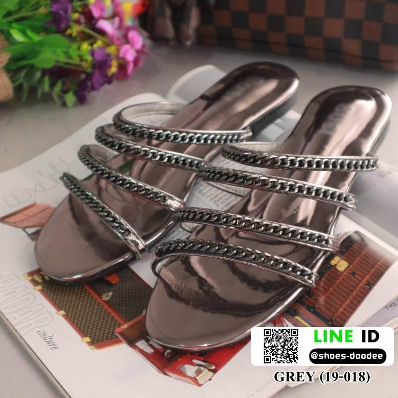รองเท้าแตะลำลอง งานสวยมาก สไตล์ CHANEL 19-018-GRAY [สีเทา]