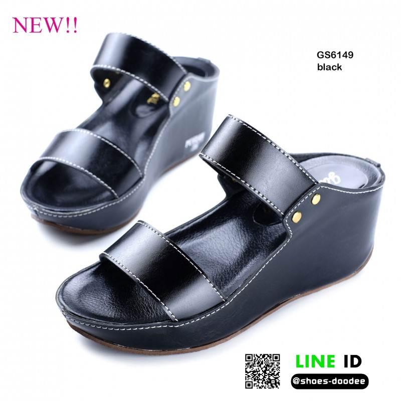 รองเท้าสไตล์ลำลองแบบสวมคาดหน้าสองตอน GS6149-BLK [สีดำ]