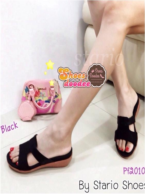 รองเท้าแตะผู้หญิง แบบสวม ใส่ลำลอง (สีดำ )