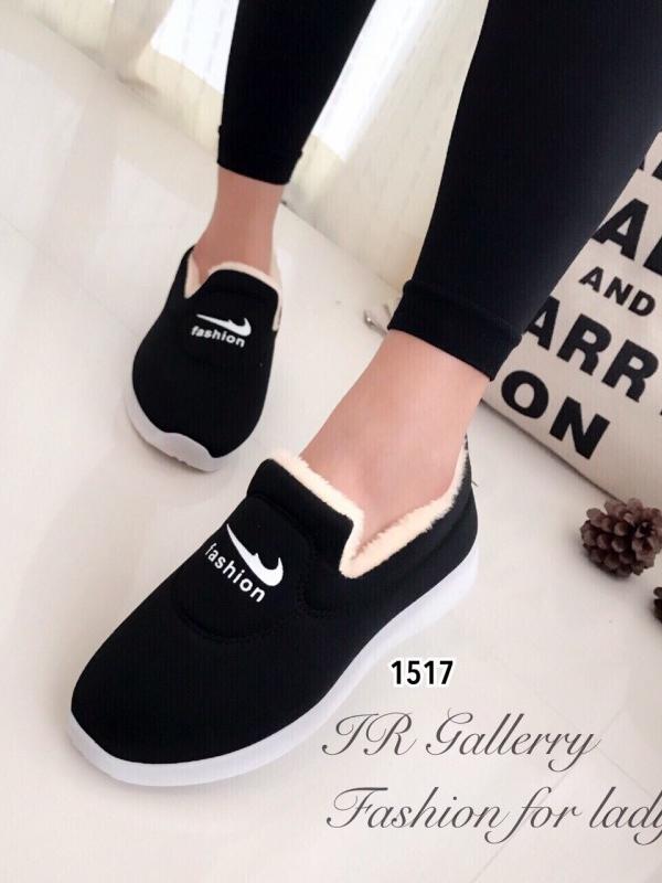 รองเท้าผ้าใบผู้หญิง บุขน ใส่หน้าหนาว (สีดำ )