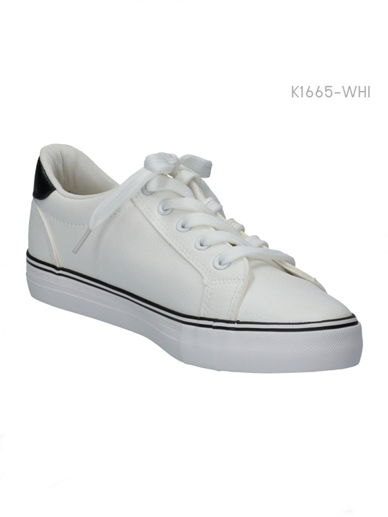 รองเท้าผ้าใบแนวสปอร์ต แต่งแถบดำ (สีขาว )