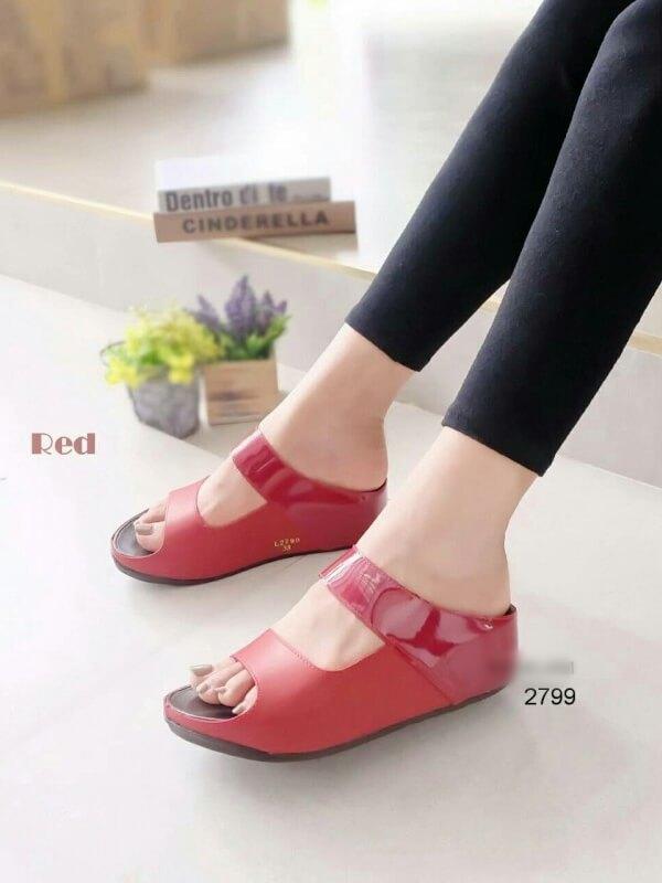รองเท้าแตะผู้หญิง ทรงสวม สายคาดสองตอน (สีแดง )