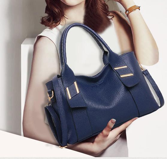 พร้อมส่ง กระเป๋าถือและสะพายข้าง ผู้หญิงแฟชั่นยุโรป Fashion รหัส NA-355 น้้ำเงิน
