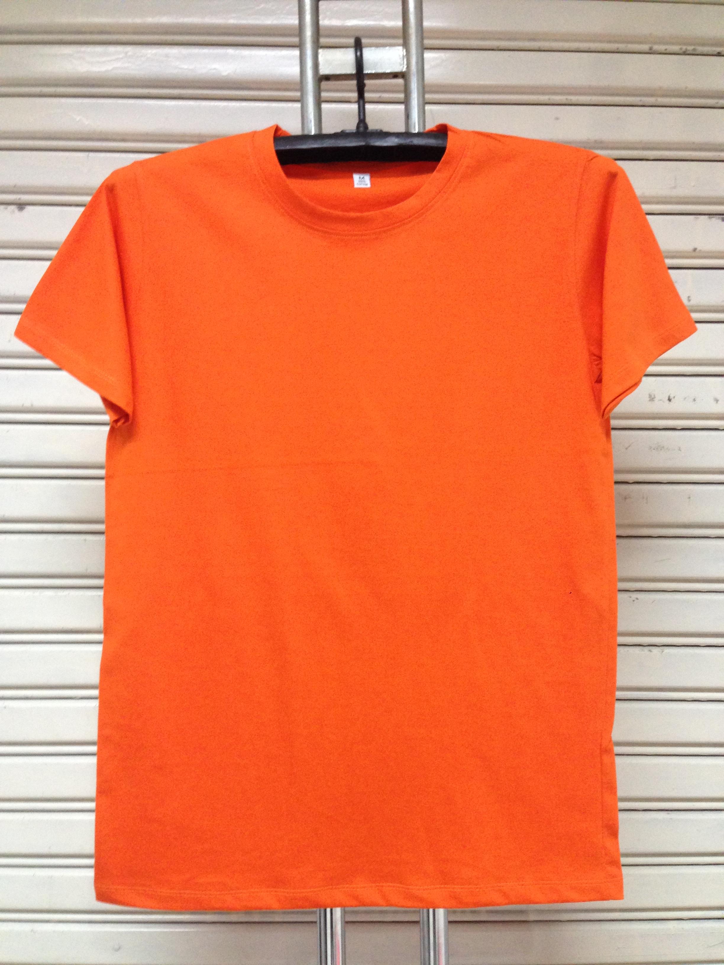 COTTON100% เบอร์32 เสื้อยืดแขนสั้น คอกลม สีส้ม