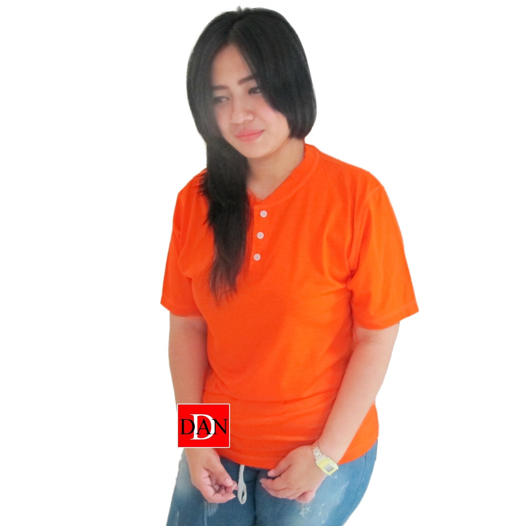 เสื้อยืดคอจีน Cotton100% XL สีส้ม